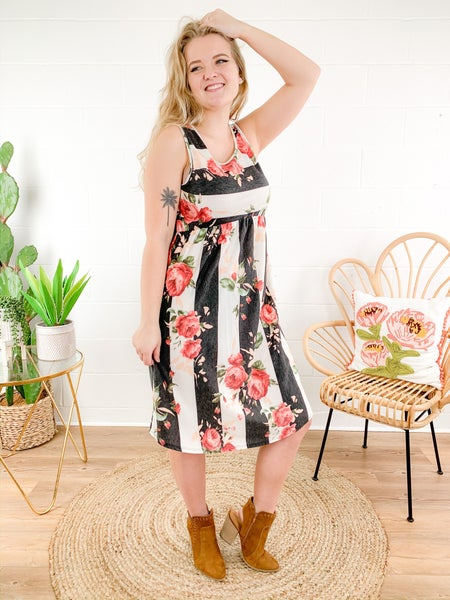 Floral Stripe Sleeveless Dress