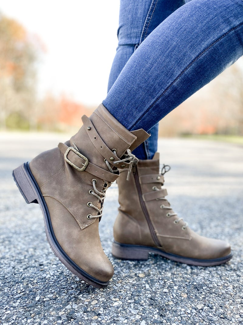 Lace Up Combat Boots With Buckle Detail (Multiple Colors)