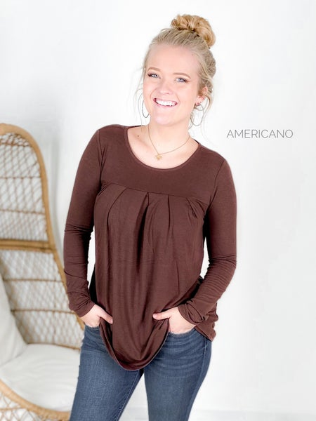 Doorbuster!!  Plus/Reg Long Sleeve Pleated Tunic Top with Pockets (Multiple Colors)