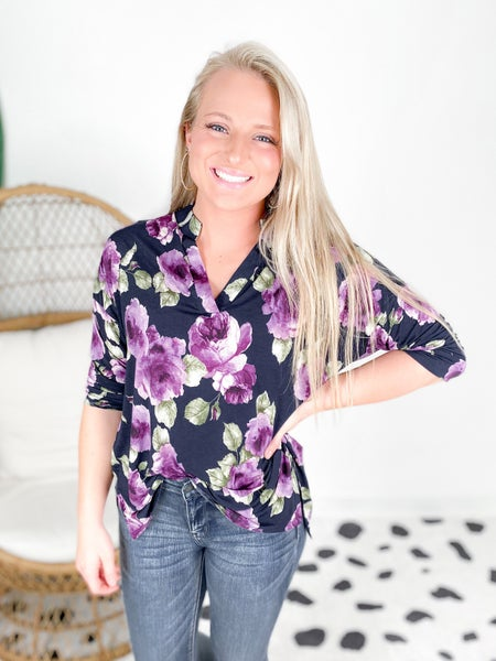 PLUS/REG Honeyme Navy & Purple Floral Gabby Blouse