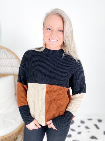 PLUS/REG Black & Mocha Color Block Sweater