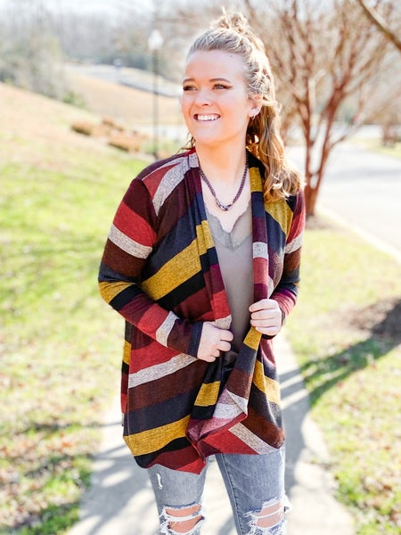 PLUS/REG Multi Color Block Draped Cardigan (Multiple Colors)