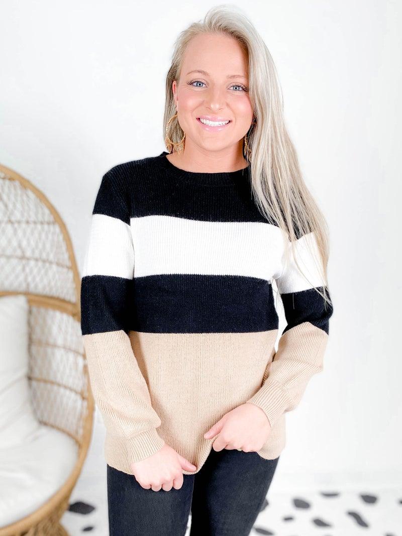 PLUS/REG Neutral Color Block Cloud Soft Sweater