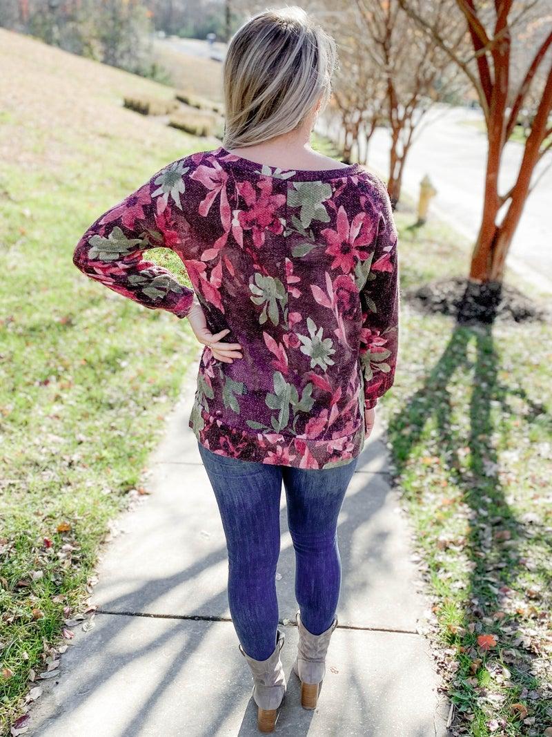 PLUS/REG Honeyme Plum & Rose Long Sleeve Floral Top