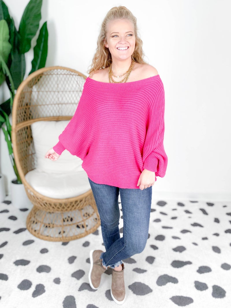 Slouchy Dolman Ribbed Knit Sweater (Multiple Colors)