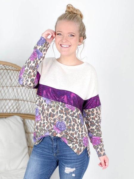 PLUS/REG Honeyme Leopard & Floral Top With Glitter Detail