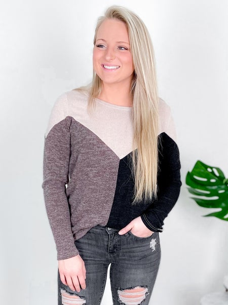 Neutral Color Block Pull Over Top