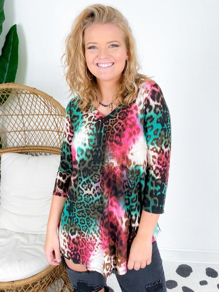 PLUS/REG Honeyme Pink Mint Leopard Tunic Top
