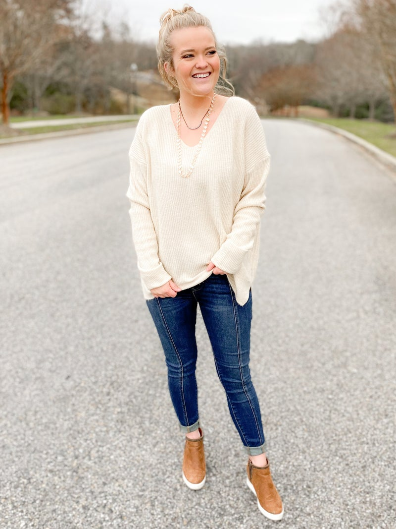 Soft Ribbed V Neck Sweater (Multiple Colors)