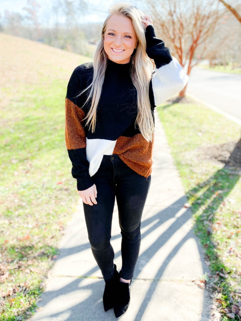 Solid & Color Block Mock Neck Sweater (Multiple Colors)