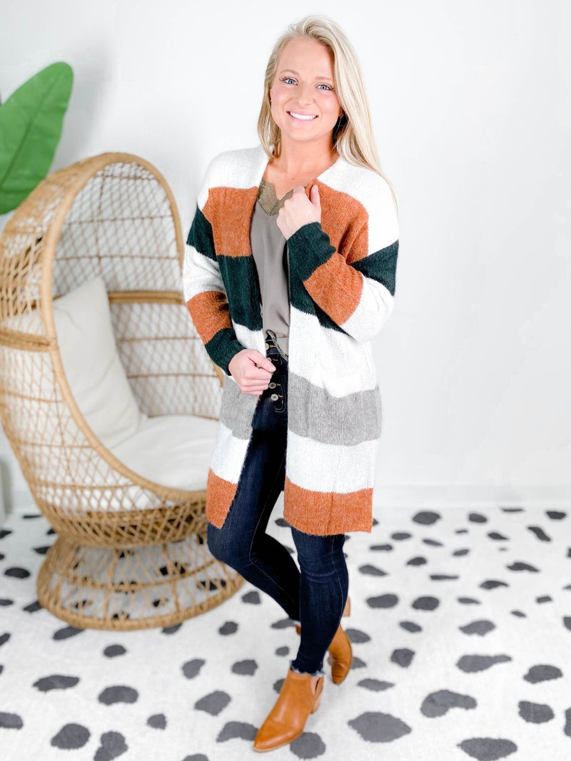 Striped Fuzzy Sweater Cardigan