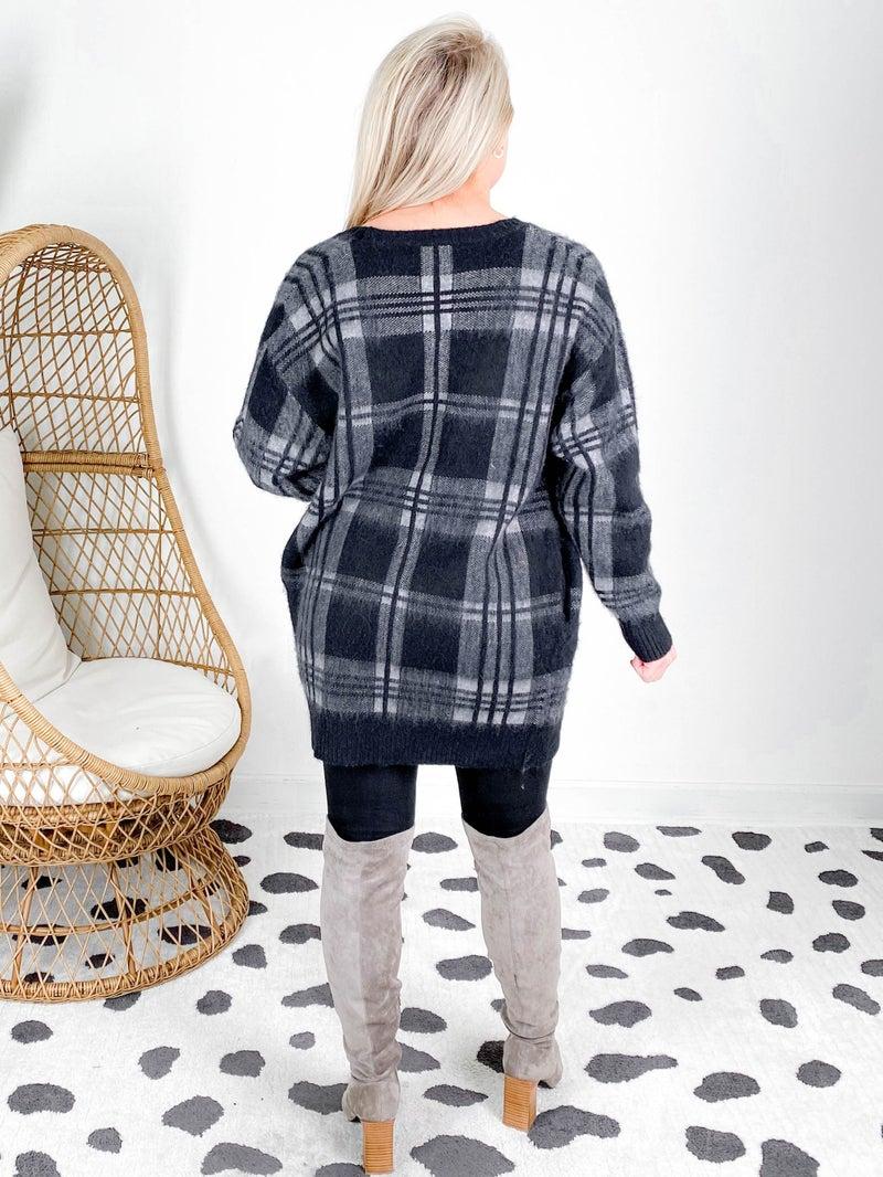 RESTOCK! PLUS/REG Long Sleeve Plaid Knit Cardigan