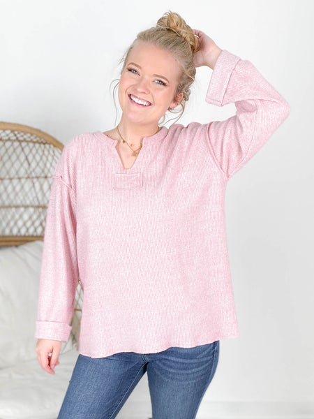 Solid Waffle Knit Cuffed Sleeve Top (Multiple Colors)