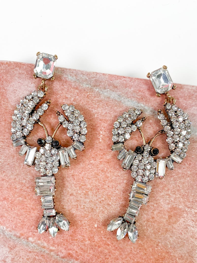Rhinestone Lobster Earrings (Multiple Colors)