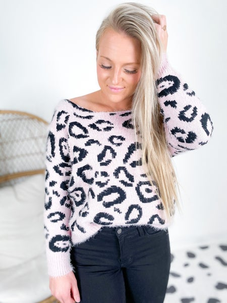 Fuzzy Leopard Twist Back Sweater (Multiple Colors)