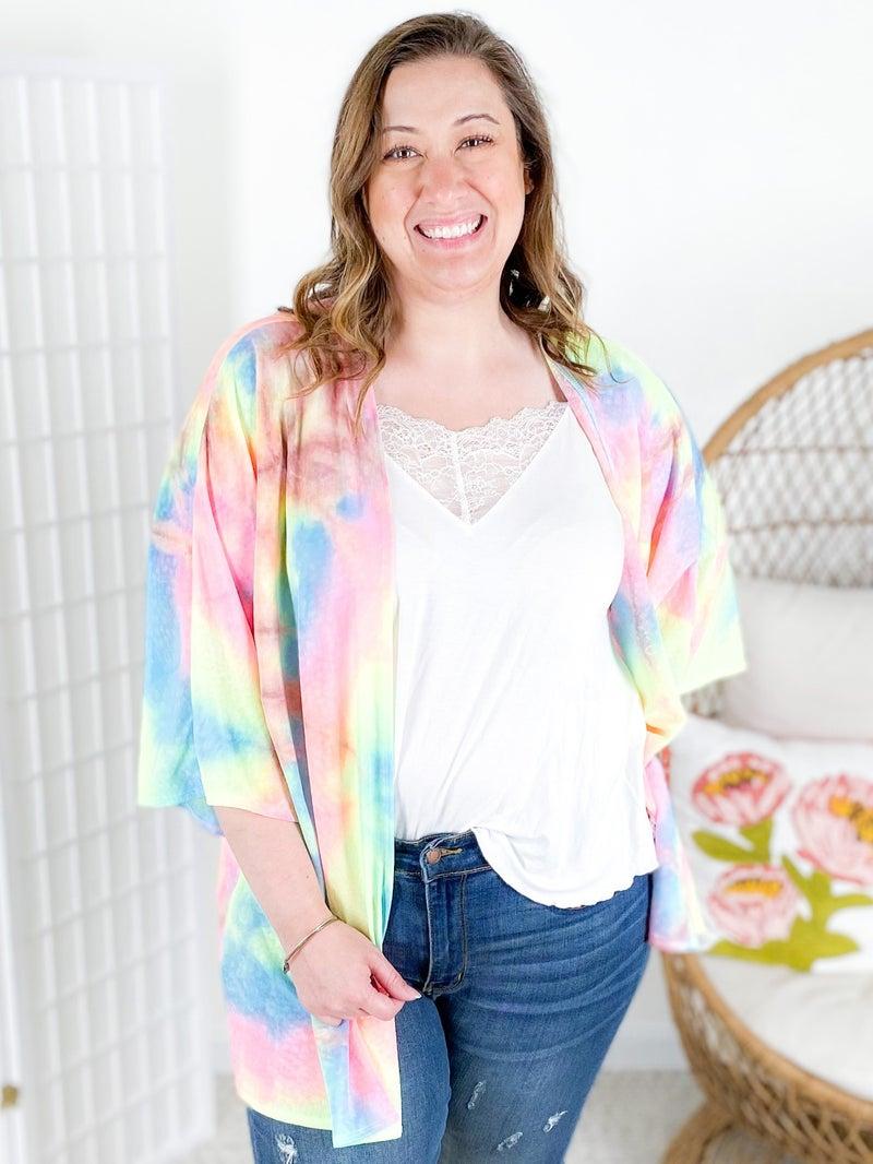Rainbow Tie Dye Open Cardigan