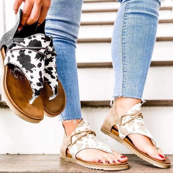 Cow Print Sandals (Multiple Colors)