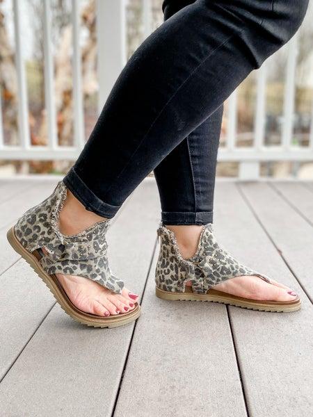 Distressed Leopard Studded Sandals