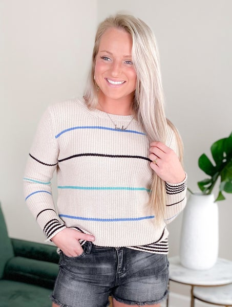 Multi Striped Ribbed Knit Pull Over Sweater