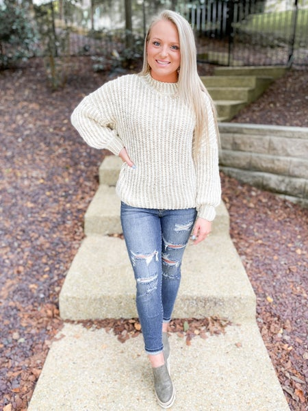 POL Two Tone Ribbed Knit Sweater (Multiple Colors)