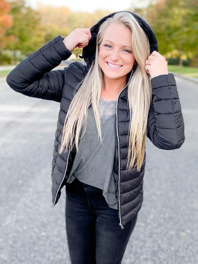 Door Buster! Zenana Black Puffer Jacket With Removable Hood
