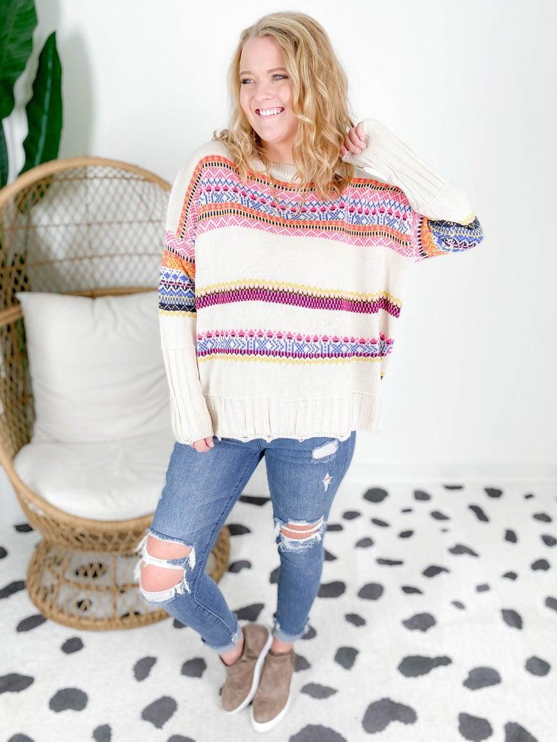 Boho Tribal Knit Sweater (Multiple Colors)