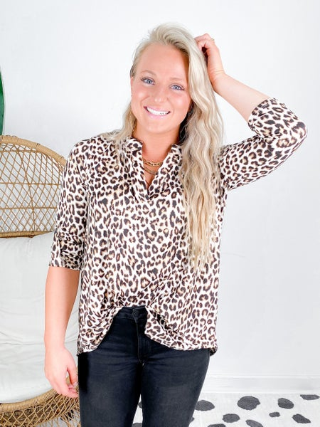 PLUS/REG Leopard V Neck Top With Button Sleeve Detail