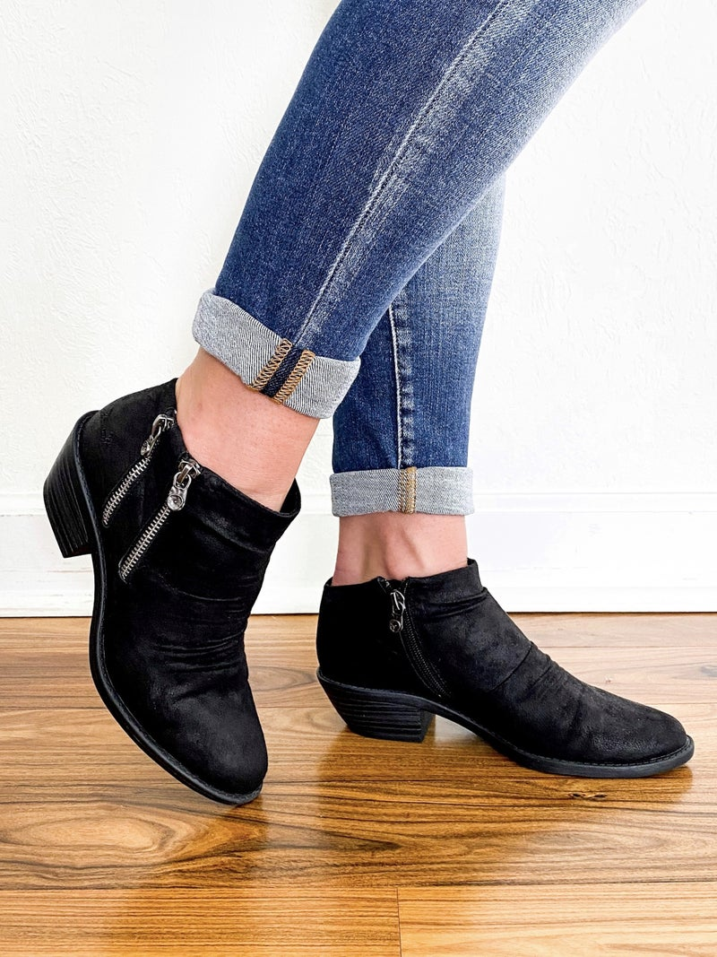 Blowfish Recycled Black Double Zipper Ankle Bootie