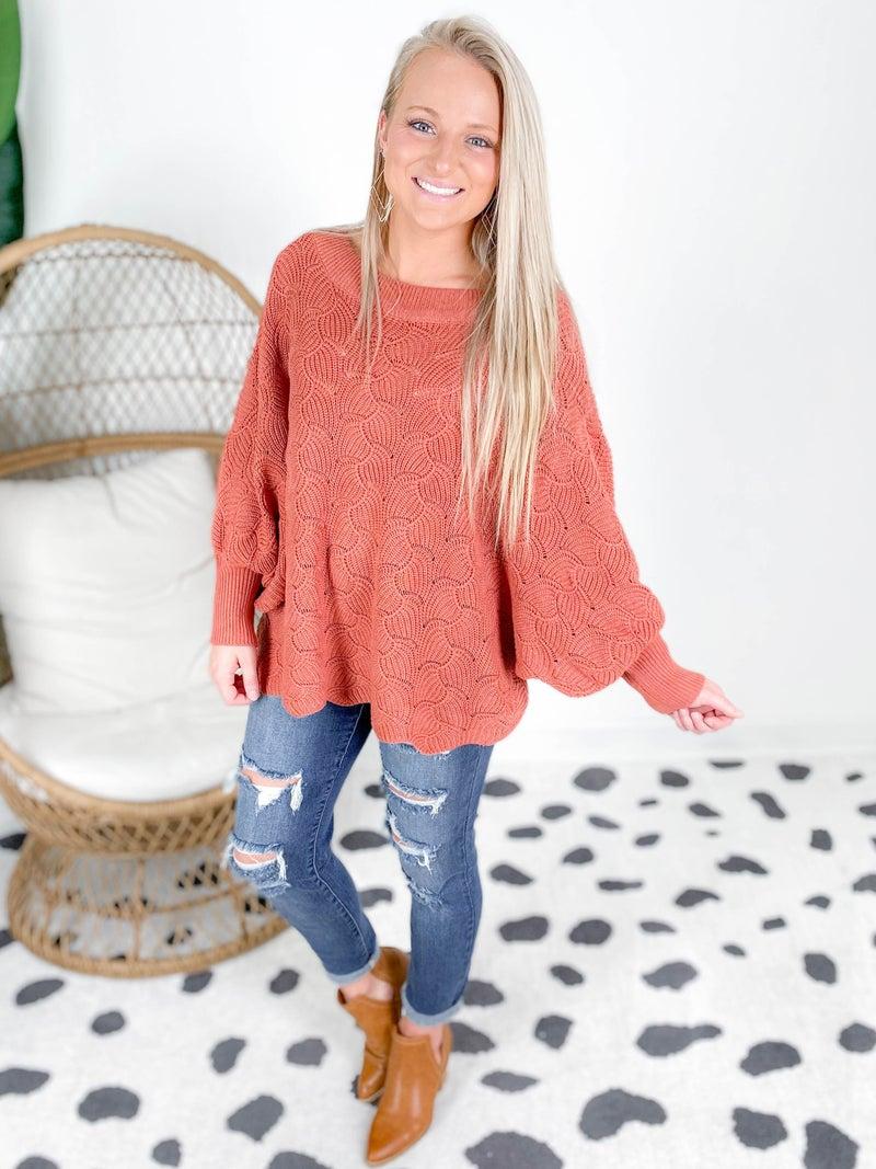 PLUS/REG Wave Knit Loose Fit Dolman Sleeve Sweater (Multiple Colors)