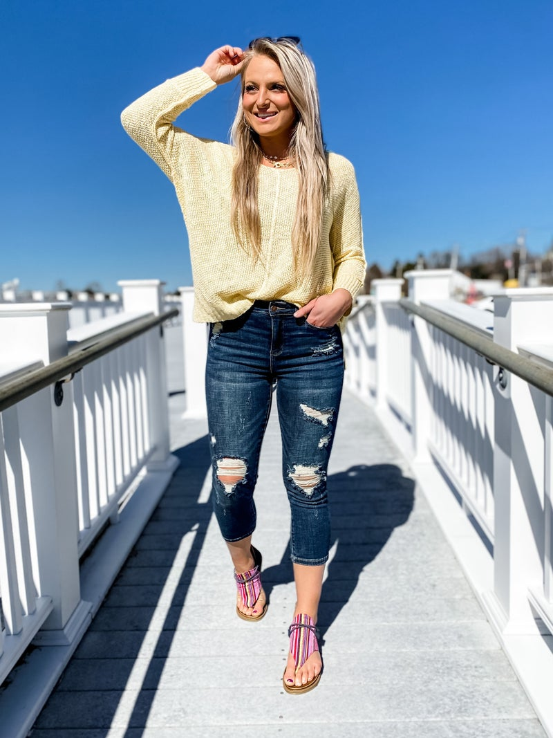 PLUS/REG Judy Blue  Sunny Days Distressed Capri Jeans