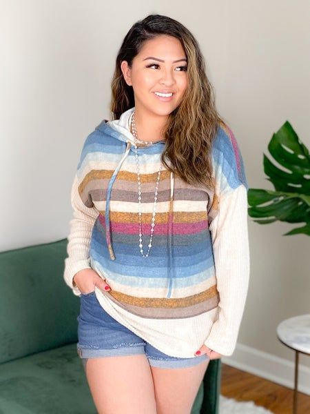 Multi Color Waffle Knit Top With Hood