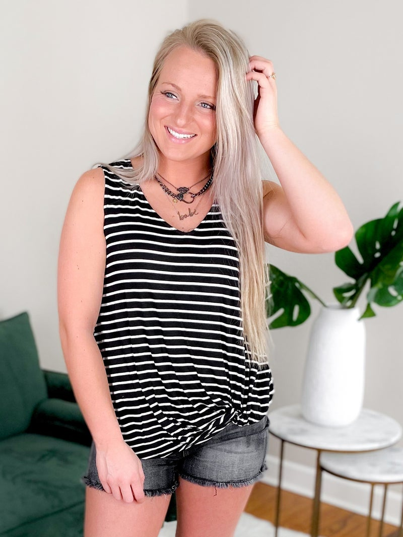 Sleeveless Striped V Neck Tank Top With Twist Knot (Multiple Colors)