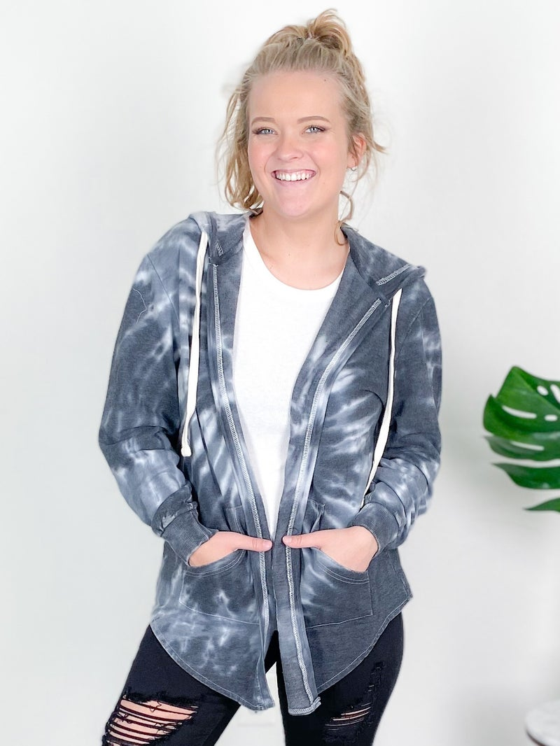 PLUS/REG Black Tie Dyed Cardigan