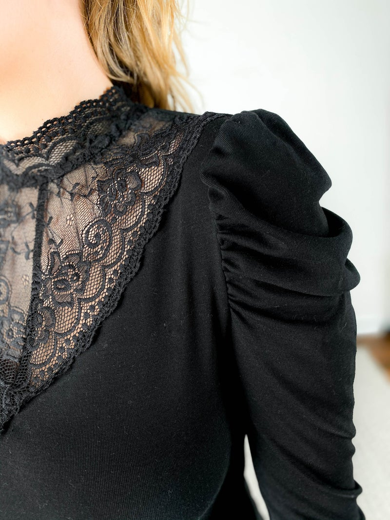 Lace Trim Mock Neck Long Shirring Sleeve Top (Multiple Colors)