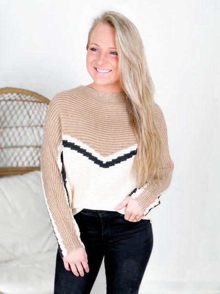 Chevron Wide Neck Dolman Sleeve Sweater Top