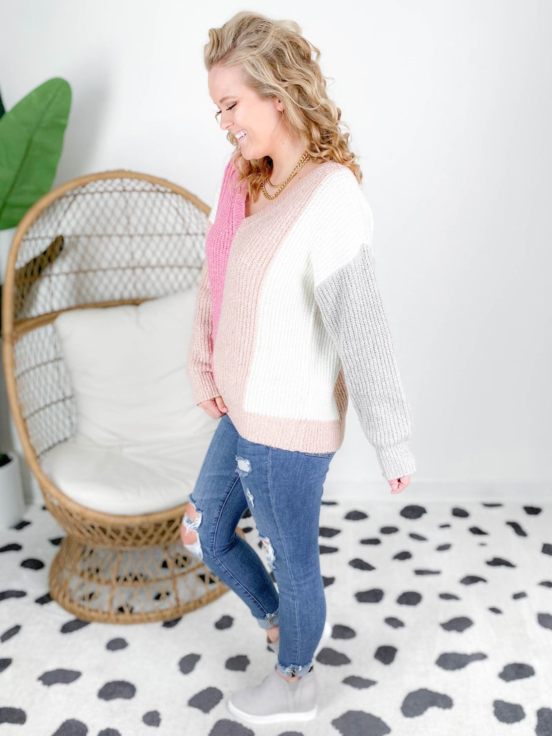 Mauve & Grey Color Block V Neck Sweater