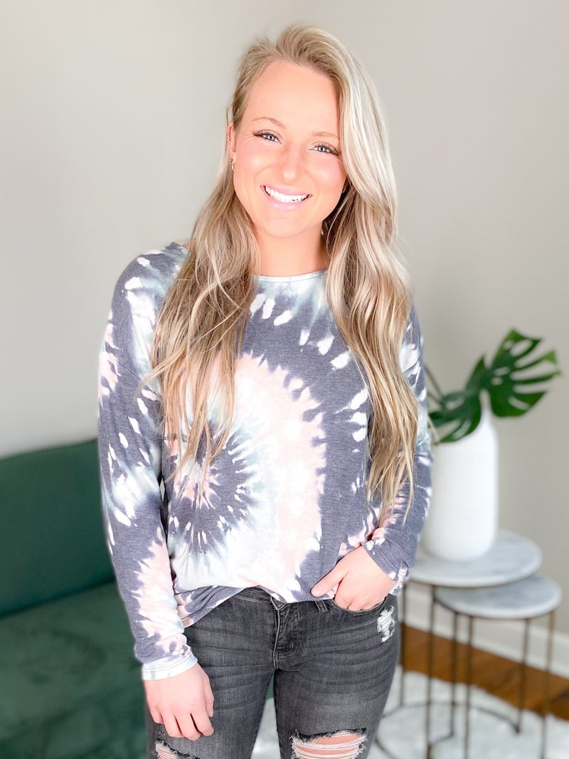 Long Sleeve Tie Dyed Terry Knit Top