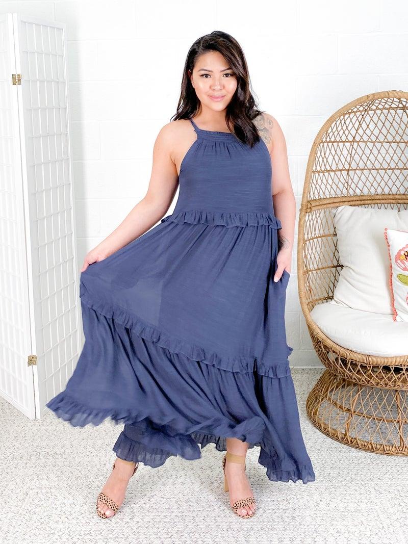 Halter Neck Ruffle Maxi Dress