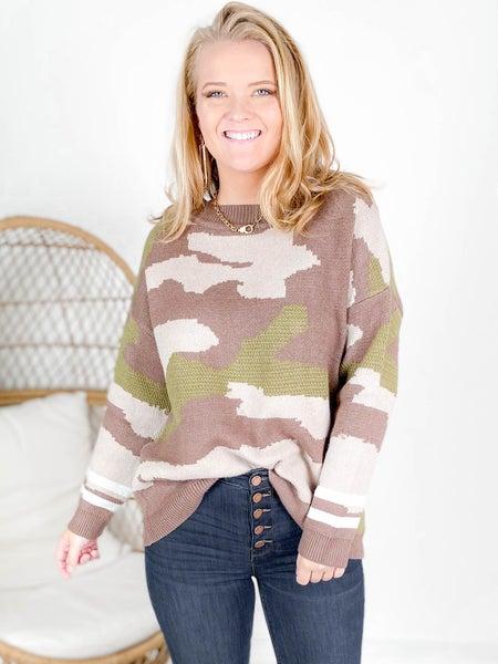 Brown Camo Sweater With Stripe Cuff Detail