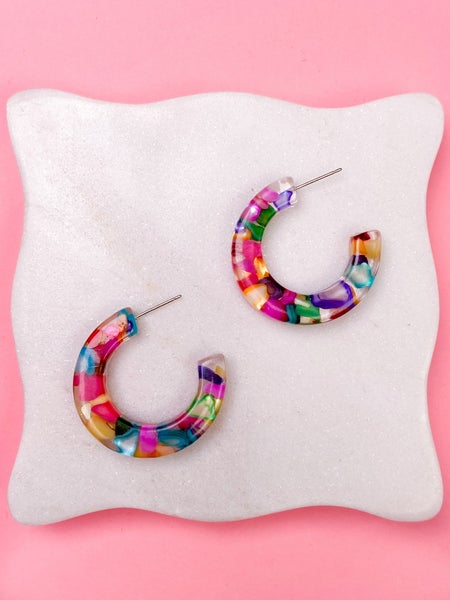 Clear Rainbow Acrylic Hoop Earrings