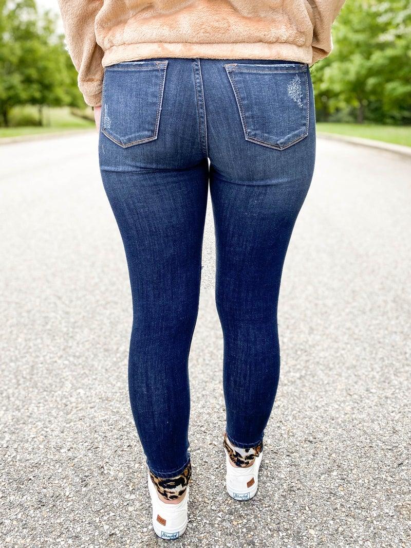 PLUS/REG KanCan Leopard Patch Skinny Jeans