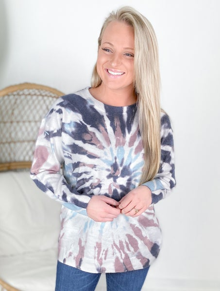 Mauve & Charcoal Tie Dye Sweater Top