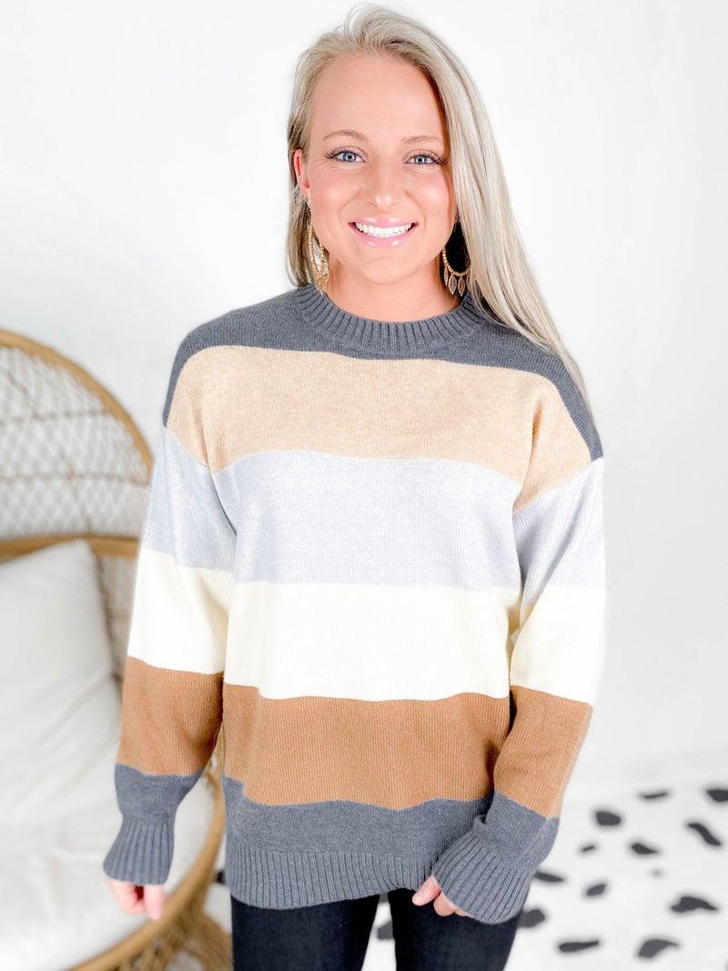 Grey & Taupe Stripe Knit Sweater