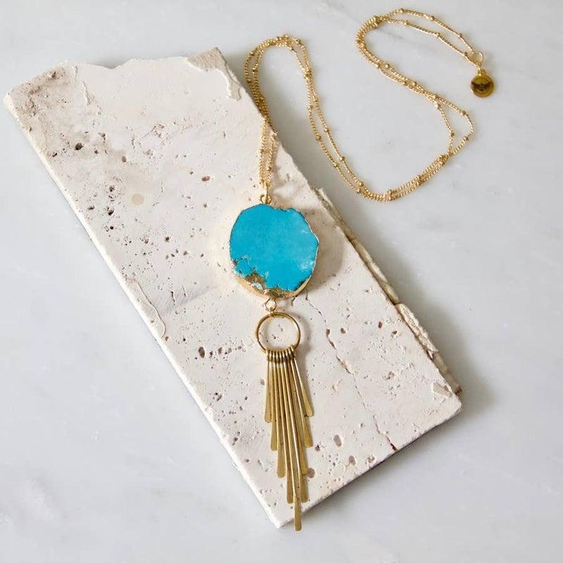 Rough Turquoise Slab Fringe Long Necklace