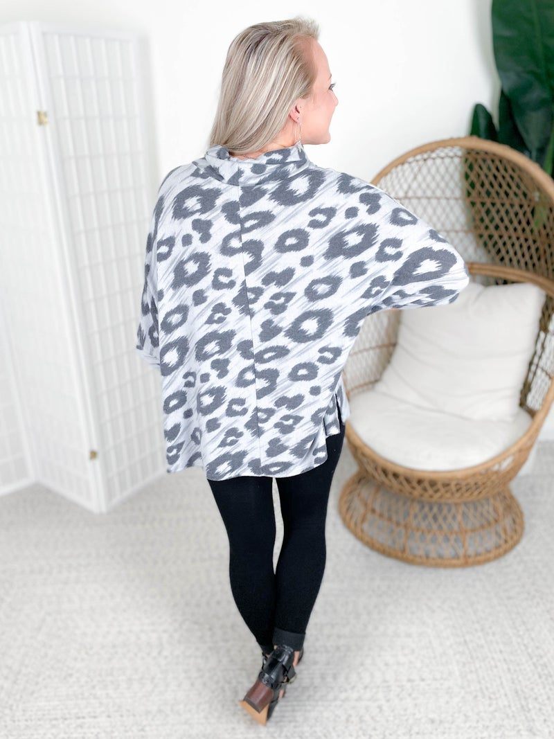 Honeyme Charcoal Leopard Poncho