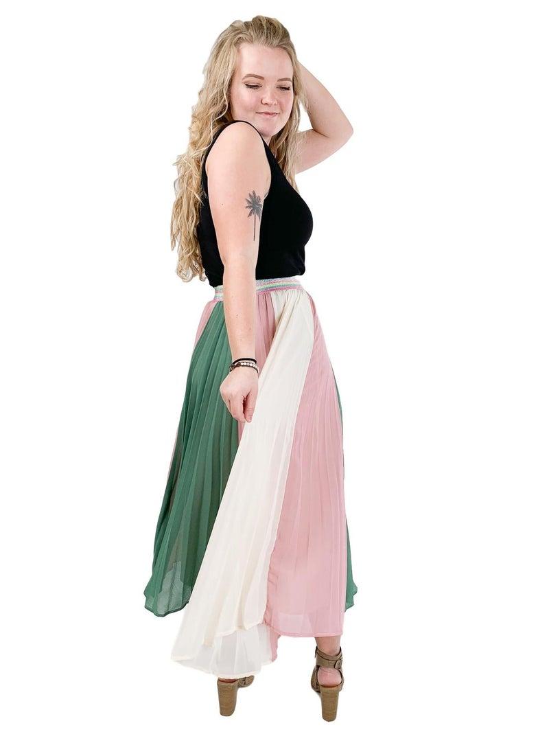 Stunning Stripe Pleated Skirt With Elastic Waistband