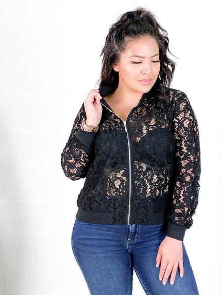 RESTOCK! SEXY AF Black Floral Lace Bomber Jacket