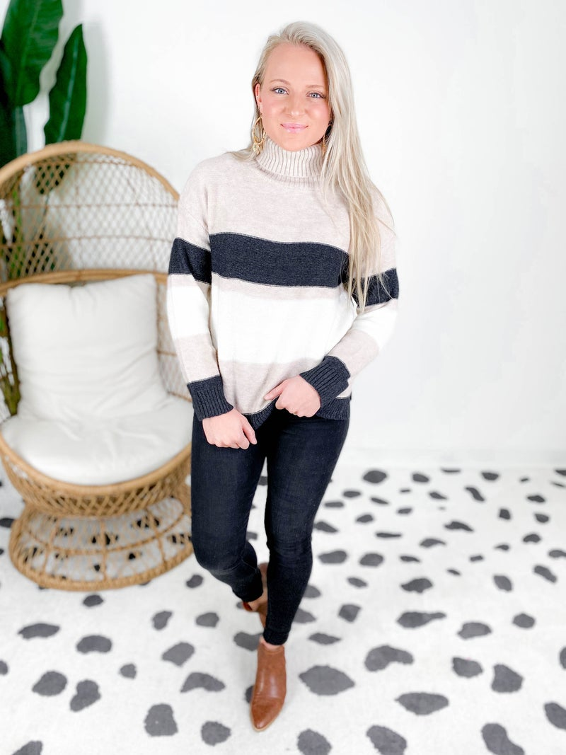 Super Soft Taupe & Navy Turtle Neck Sweater