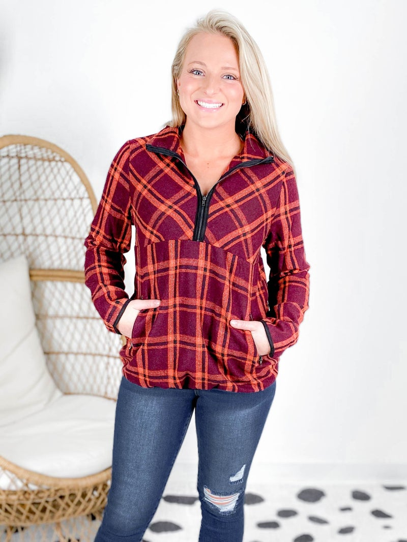 PLUS/REG Rosewood Brushed Plaid Pullover