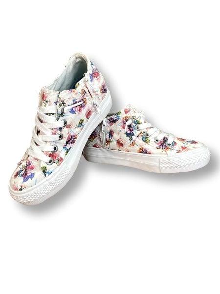 Blowfish White Floral Wedge Sneakers